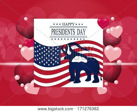 Presidents' Day. Greeting card. The elephant in the background of the US flag. The inscription with the wishes happiness. Vector illustration