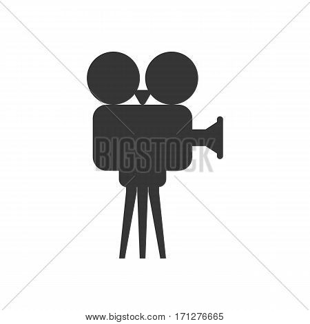 Video projector silhouette on the white background. Vector illustration