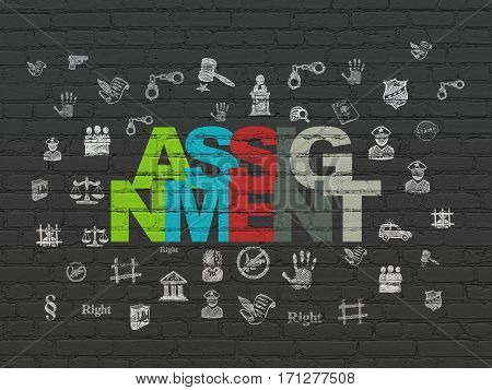 Law concept: Painted multicolor text Assignment on Black Brick wall background with  Hand Drawn Law Icons