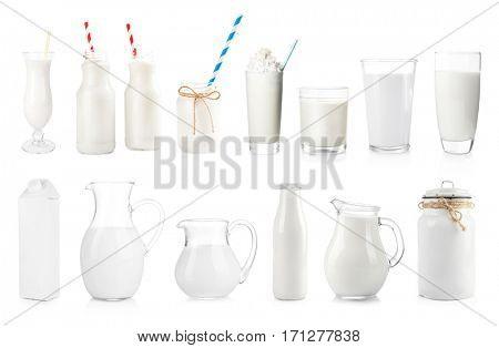 Fresh milk in different dishware on white background