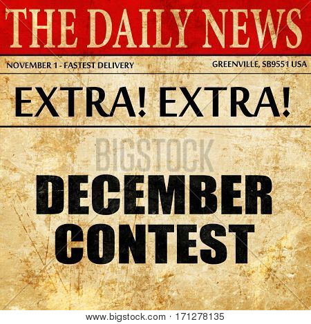 december contest, article text in newspaper