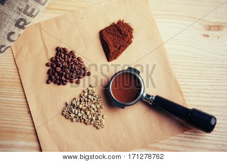 green in roasted, ground and instant coffee