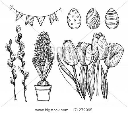 Hand Drawn Vector Illustration. Happy Easter! Easter Design Elements (eggs, Garland, Tulips, Hyacint