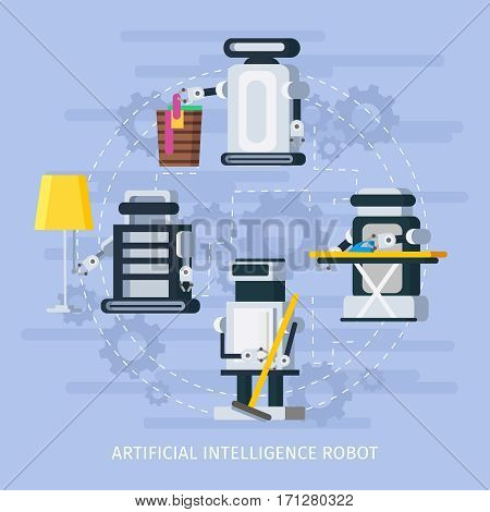Artificial intelligence composition with robots assisting people in different housekeeping functions vector illustration