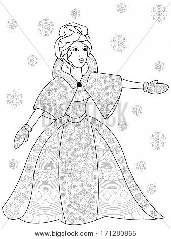 Vector illustration winter woman in zendoodle and ethnic style. Tattoo, coloring page, t-shirt, card, poster, print design. Black and white lines. Lace pattern rodent girl, joy, modern, snow