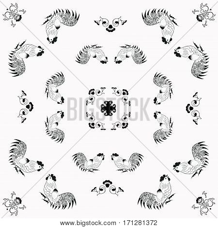 Black and white background with roosters in folk style. One of the signs of the zodiac, the Chinese horoscope, folklore character. Vector illustration. Horizontal location.