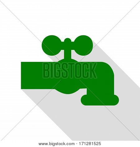 Water faucet sign illustration. Green icon with flat style shadow path.