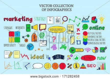 Colored infographic business sketch elements collection of marketing strategy icons PEST and SWOT analyses isolated vector illustration