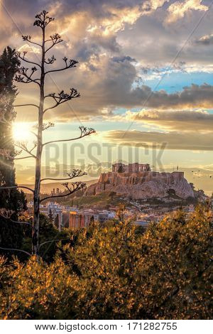 Parthenon Temple On The Acropolis Against Colorful Sunset In Athens, Greece