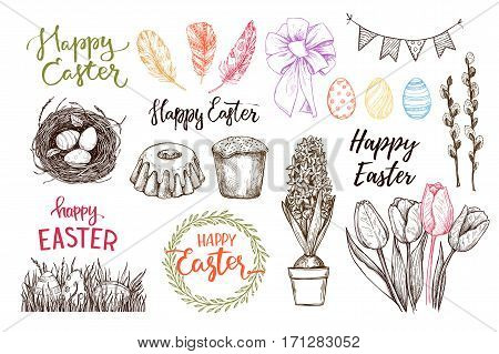Hand Drawn Vector Illustration. Happy Easter! Easter Design Elements (eggs, Feathers, Nest, Cake, Le