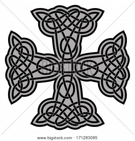 Celtic national ornament in the shape of a cross. Black ornament isolated on white background.