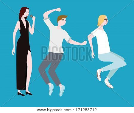 Concert people flat composition with female singer in evening dress dancing boy and jumping girl isolated vector illustration