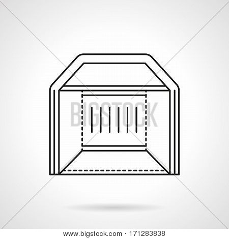 Abstract symbol of exhibition tent. Trade structures for show, festival, art events. Flat black line vector icon.