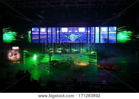 MOSCOW - OCT 1, 2016: Cars and laser show at G-Drive show Race Millennium in Sports complex Olympiysky
