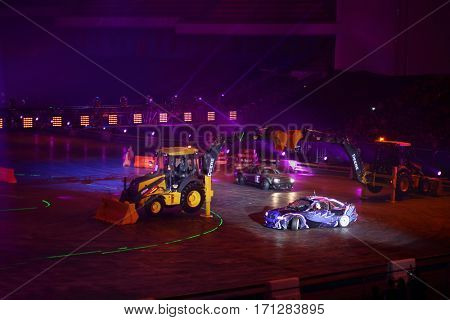 MOSCOW - OCT 1, 2016: Racing cars and tractors at G-Drive show Race Millennium in Sports complex Olympiysky