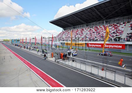 MOSCOW - SEP 3, 2016: Race of Stars At wheel Magazine with participation of best Russian riders at Moscow Raceway