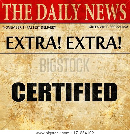 certified, article text in newspaper
