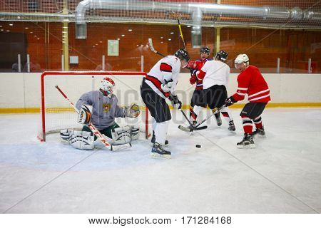 MOSCOW - SEP 5, 2016: Nonpro players play hockey in ice palace in Novokosino