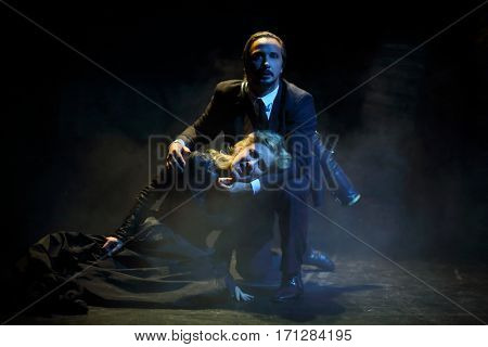 MOSCOW - OCT 13, 2016: Actress and actor on stage during Dancings Performance in Modern theater