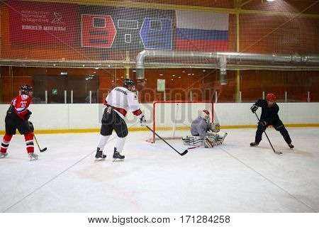 MOSCOW - SEP 5, 2016: Nonprofessional players play hockey in ice palace in Novokosino