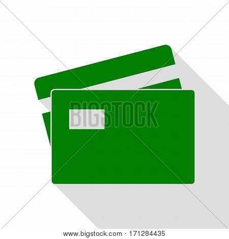 Credit Card sign. Green icon with flat style shadow path.