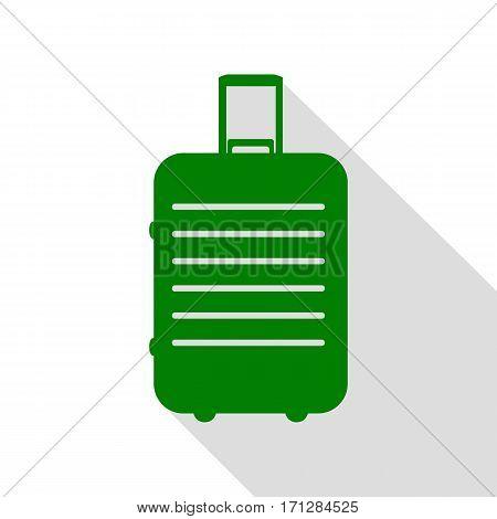 Baggage sign illustration. Green icon with flat style shadow path.
