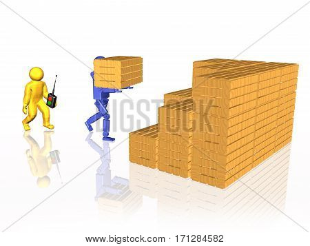 Man and robot with casegoods on white reflective background 3D illustration.