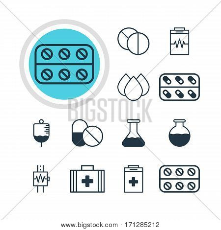 Vector Illustration Of 12 Health Icons. Editable Pack Of Vial, Medical Bag, Trickle And Other Elements.