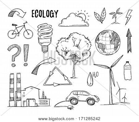 Hand drawn vector illustration. Ecology design elements (plant sprout energy-saving lamp windmill bike). Eco icons in sketch style. Perfect for invitations greeting cards blogs posters and more