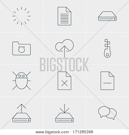 Vector Illustration Of 12 Network Icons. Editable Pack Of Delete Data, Note, Hdd Sync And Other Elements.