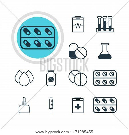 Vector Illustration Of 12 Medical Icons. Editable Pack Of Medicament Pitcher, Round Tablet, Trickle And Other Elements.
