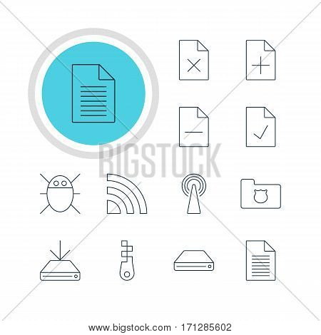 Vector Illustration Of 12 Internet Icons. Editable Pack Of Hard Drive Disk, Computer Virus, Note And Other Elements.