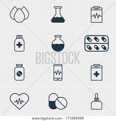 Vector Illustration Of 12 Medicine Icons. Editable Pack Of Heart Rhythm, Exigency, Aspirin And Other Elements.
