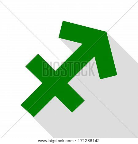 Sagittarius sign illustration. Green icon with flat style shadow path.