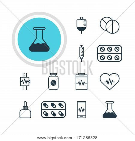 Vector Illustration Of 12 Medicine Icons. Editable Pack Of Pills, Treatment, Aspirin And Other Elements.