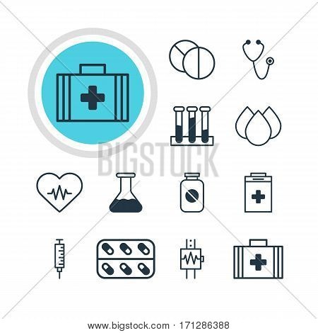 Vector Illustration Of 12 Health Icons. Editable Pack Of Experiment Flask, Heart Rhythm, Exigency And Other Elements.