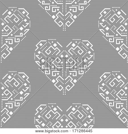 Navajo heart shape ornament seamless vector pattern. White and grey tileable aztec background.