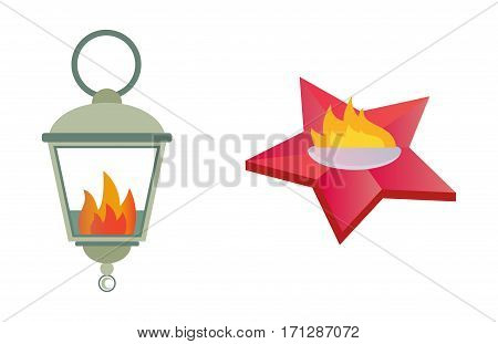 Fire torch victory champion flame icon isolated vector illustration. Victory warm achievement competition. Ceremony emblem heat flame shine energy sign.