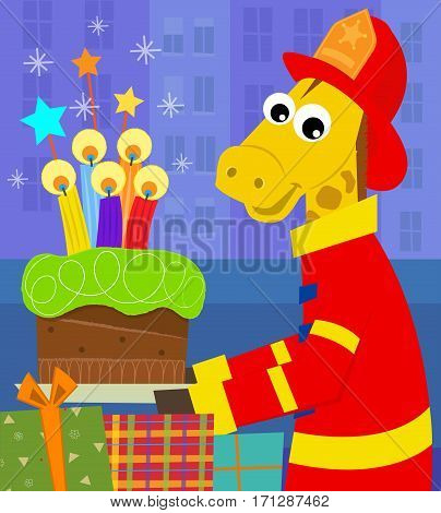 A fireman giraffe is holding a birthday cake with colorful candles. Eps10