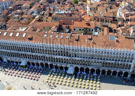 Famous San Marco Square (Piazza San Marco) in Venice, Italy