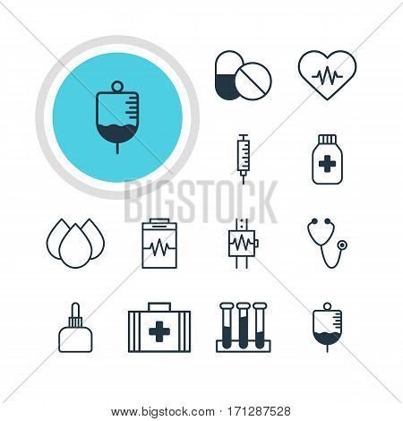 Vector Illustration Of 12 Health Icons. Editable Pack Of Heartbeat, Medicine Jar, Medical Bag And Other Elements.