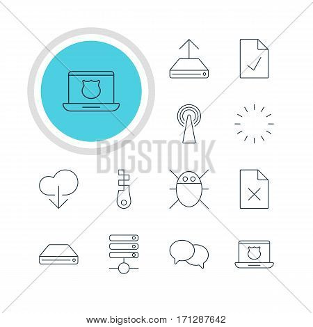 Vector Illustration Of 12 Internet Icons. Editable Pack Of Secure Laptop, Talking, Data Upload And Other Elements.