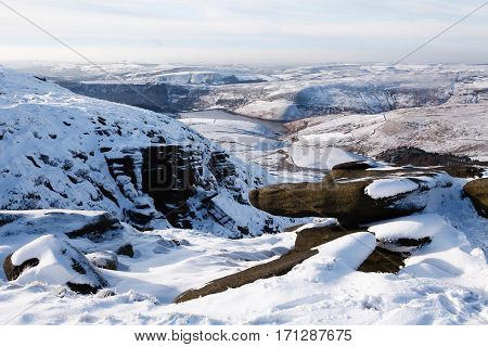 Kinder Reservoir viewed from Kinder Scout Peak District UK