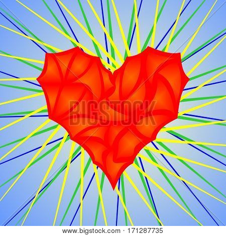 Red icon in the form of heart on a blue background with colored rays emanating from it