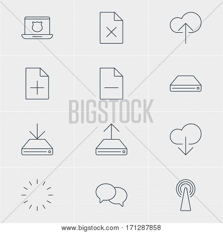 Vector Illustration Of 12 Web Icons. Editable Pack Of Secure Laptop, Information Load, Cloud Download And Other Elements.