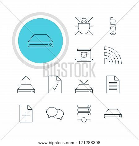 Vector Illustration Of 12 Network Icons. Editable Pack Of Hard Drive Disk, Secure Laptop, Server And Other Elements.