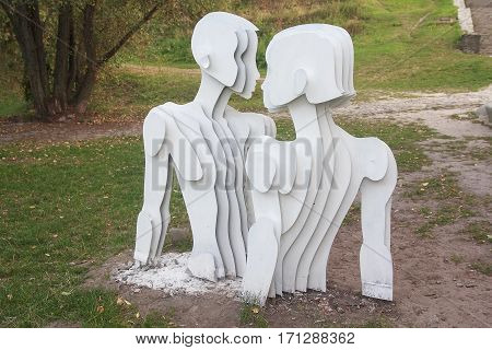 Kiev Ukraine - September 17 2015: Sculpture of lovers in a contemporary style on the Landscape alley