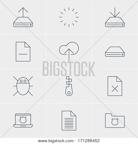Vector Illustration Of 12 Web Icons. Editable Pack Of Fastener, Hdd Sync, Waiting And Other Elements.