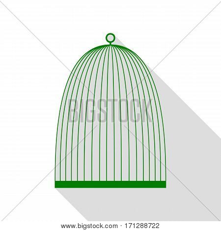 Bird cage sign. Green icon with flat style shadow path.