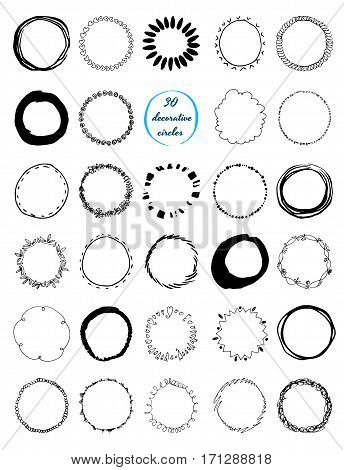 Uniqiue handdrawn shapes of cirles for logo design. Isolated vector illustration on white background.